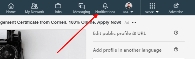 Notifications section in LinkedIn